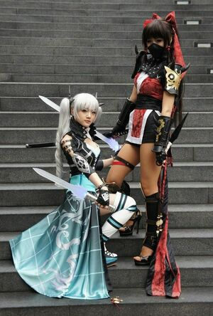 Very beautiful asian cosplay girls with long legs